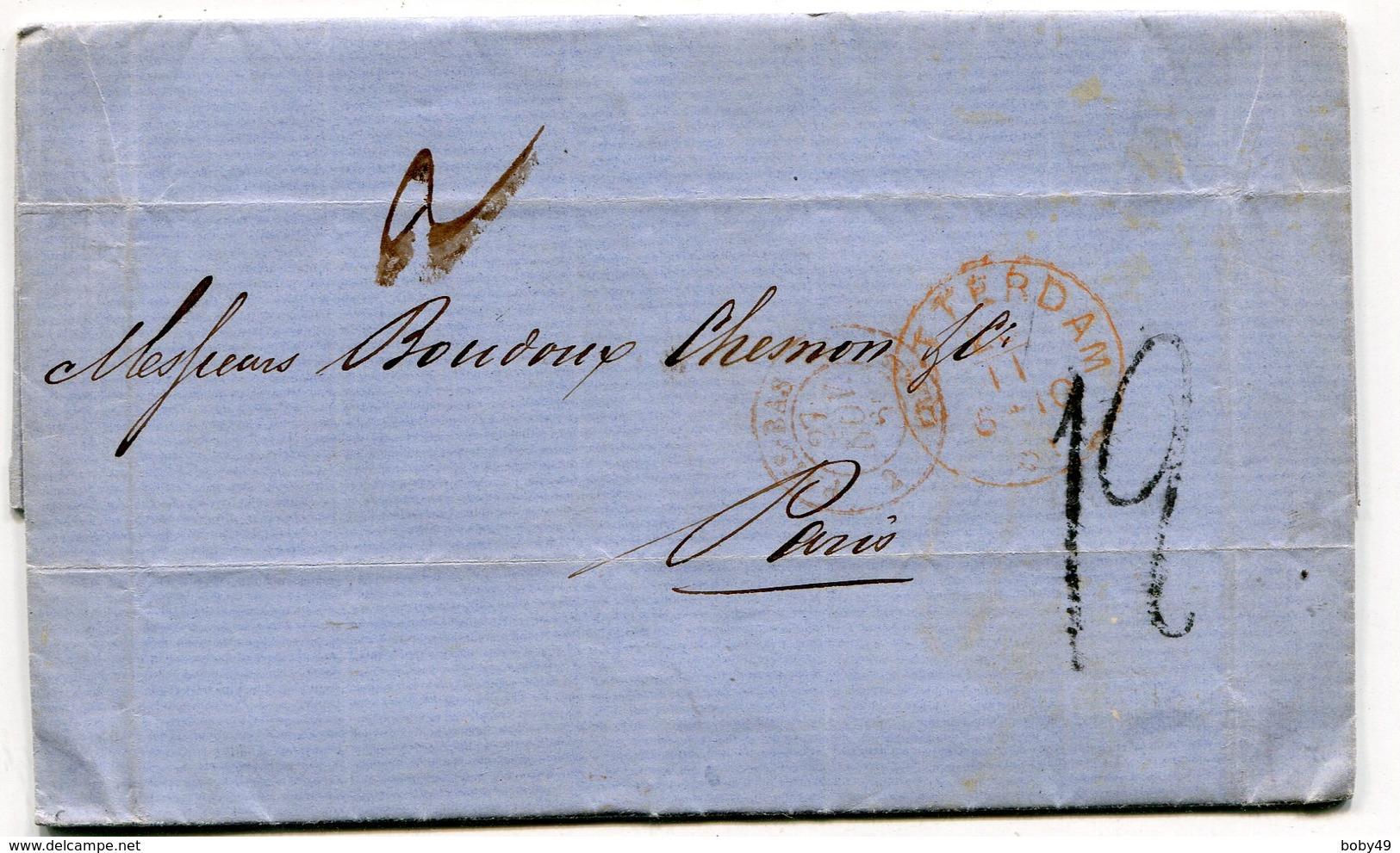 ROTTERDAM Pour PARIS LAC Du 26/11/1861 TFM De 12 Entrée 2 PAYS BAS 2 VALnes - Storia Postale