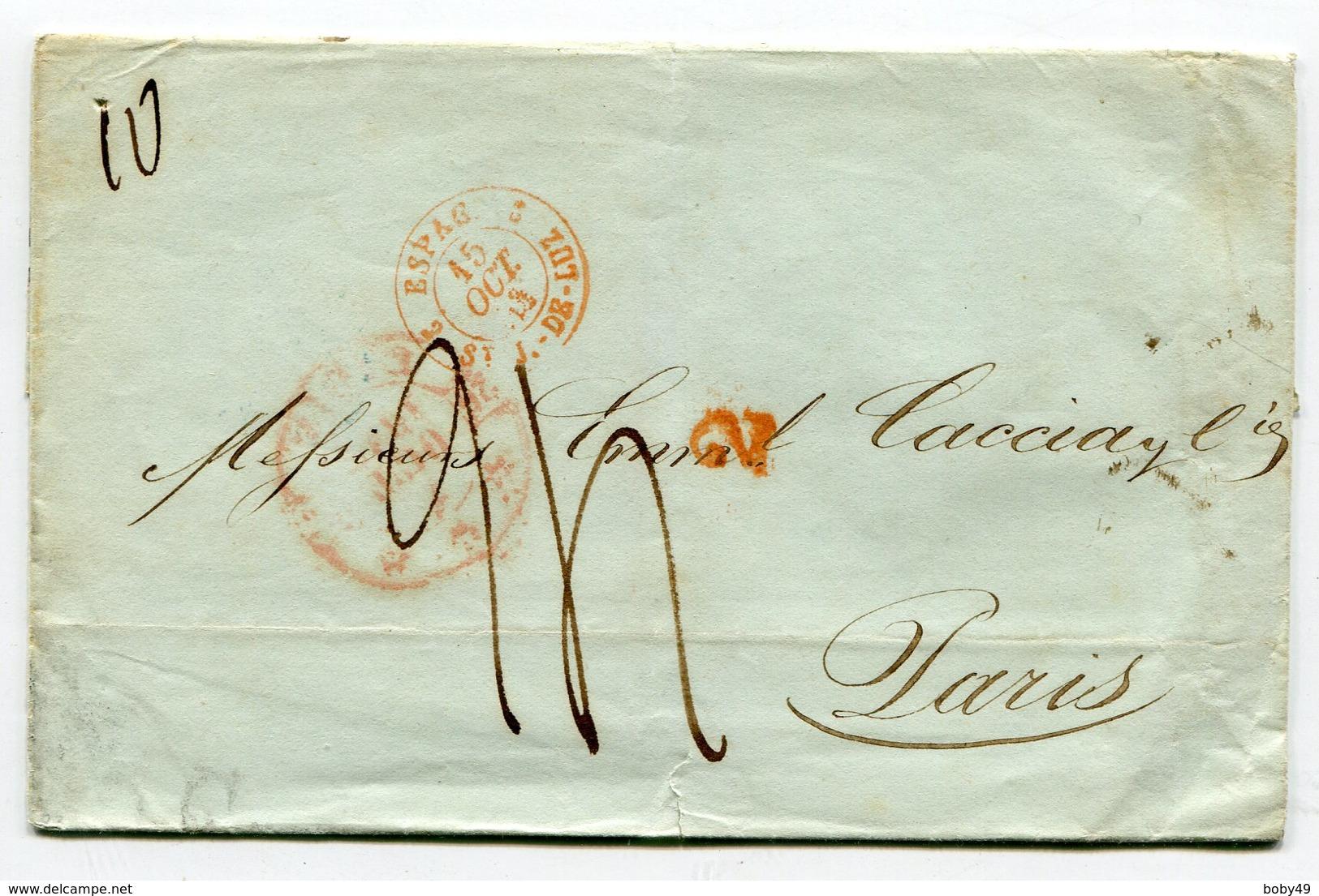 CADIX Pour PARIS LSC Du 07/10/1843 Entrée Rouge 2 ESPAG 2 ST J DE LUZ - Postmark Collection (Covers)