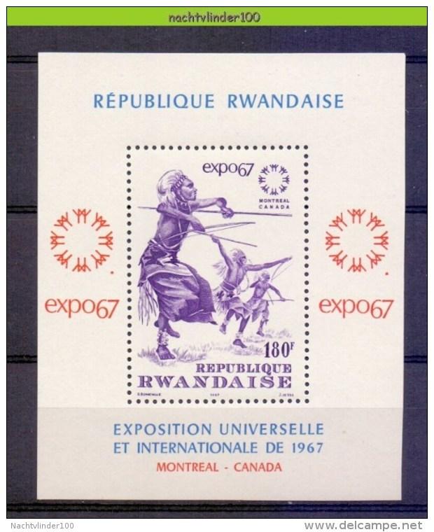 Mrd021 EXPOSITION UNIVERSELLE ET INTERNATIONALE DE 1967 MONTREAL CANADA CULTURE DANCING RWANDA 1967 ONG/MH - 1962-69: Ongebruikt