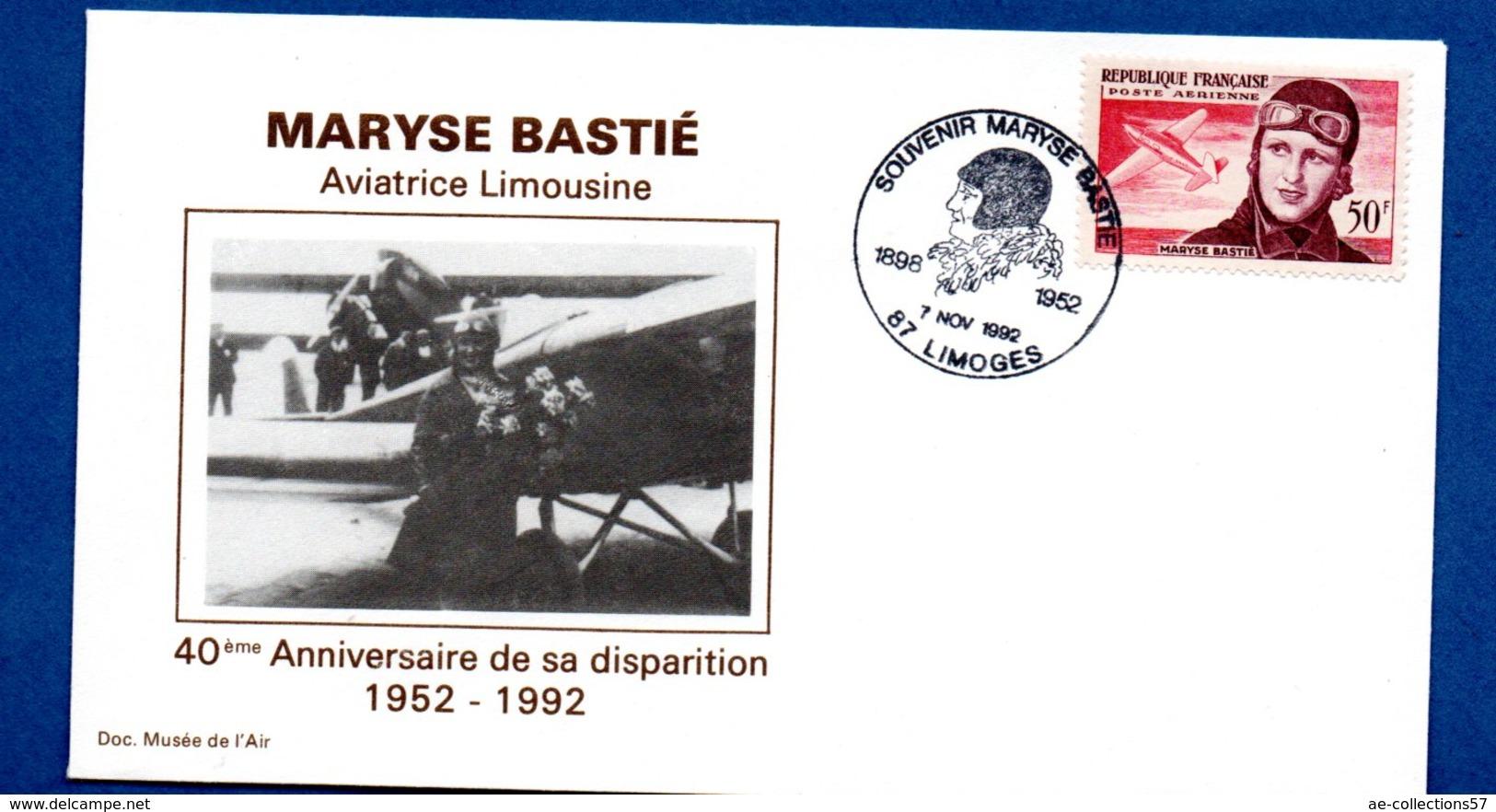 Enveloppe 1er Jour  /40 ème Anniv. Disparition Maryse Bastié / Limoges / 7-11-92 - 1990-1999