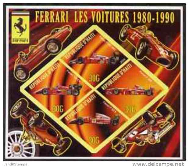 63323 Haiti 2006 Ferrari Cars 1980-1990 Imperf Sheetlet 4 Diamond Shaped Values U/m (racing Formula 1 F1) - Haiti