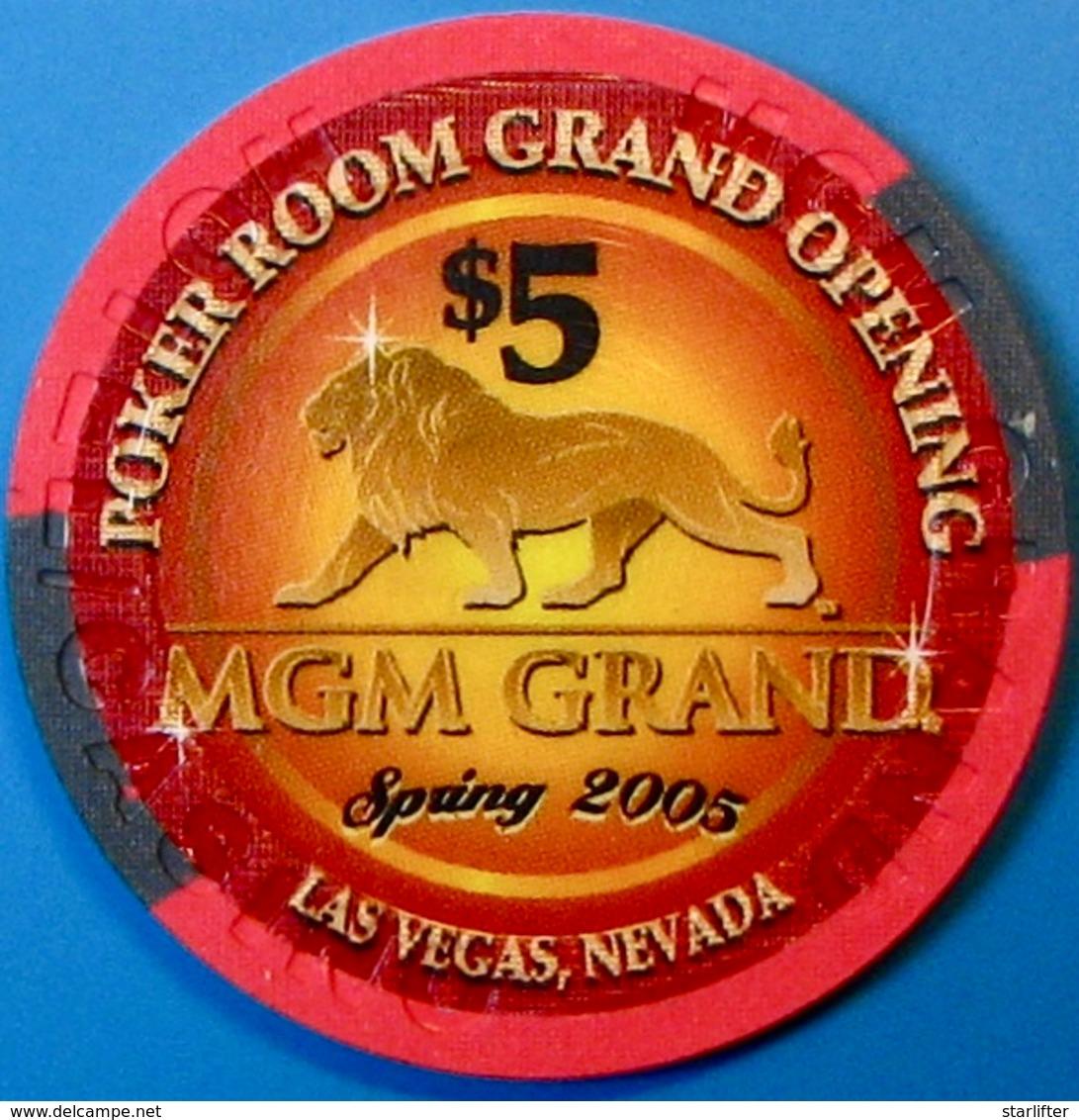 $5 Casino Chip. MGM Grand, Las Vegas, NV. Poker Room Grand Opening 2005. M72. - Casino