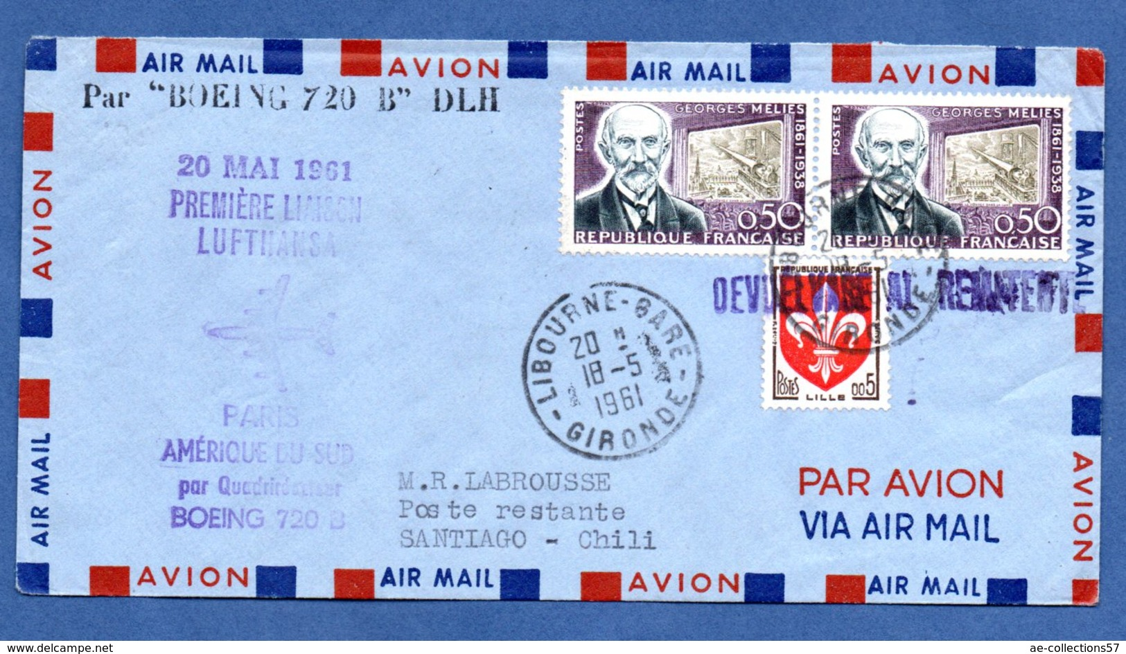 Enveloppe / De Libourne / Pour Santiago - Chili / Par Boeing 720 B   / 18-5-61 - 1961-....