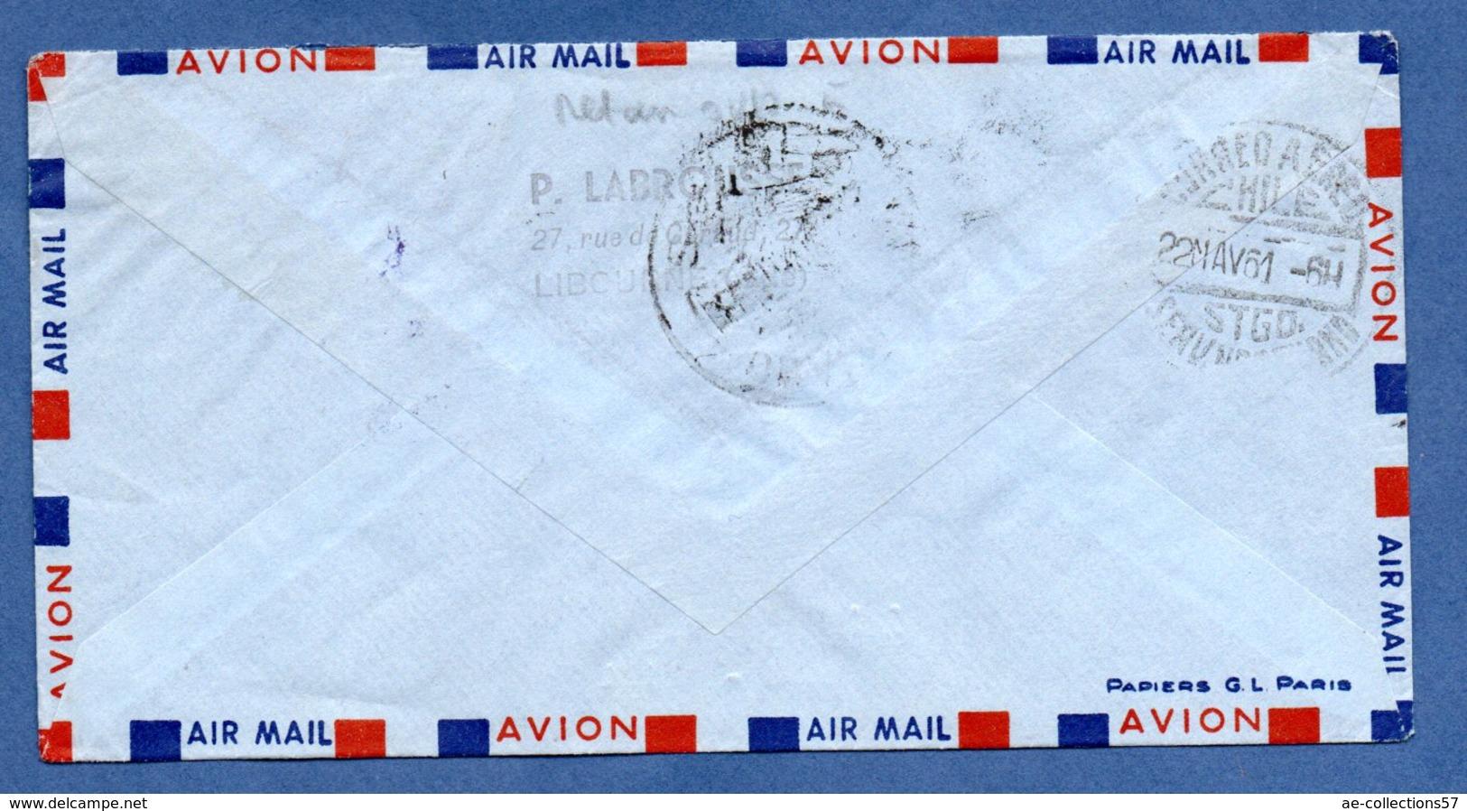 Enveloppe / De Libourne / Pour Santiago - Chili / Par Boeing 720 B   / 18-5-61 - Postmark Collection (Covers)