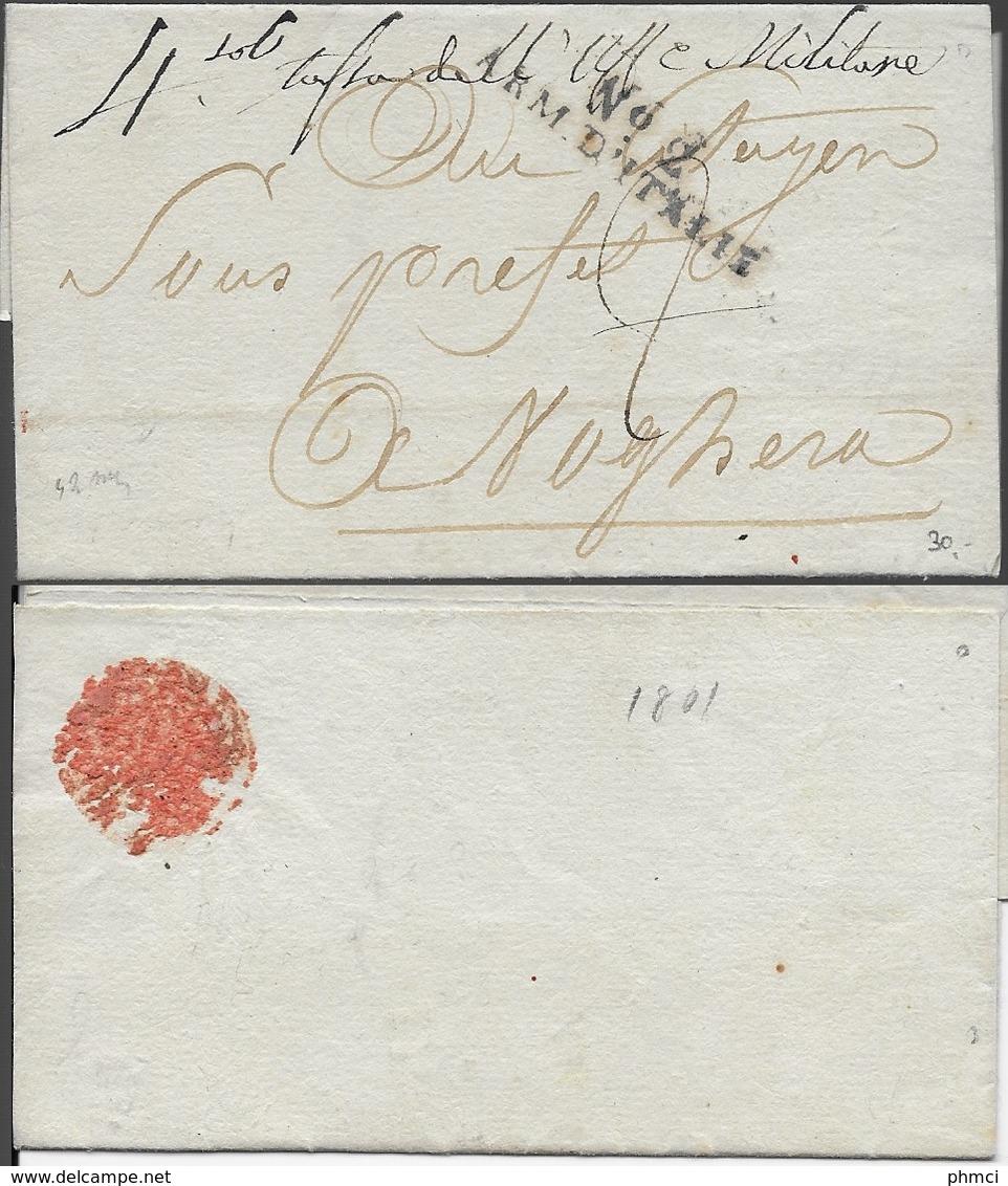 LSC N°2 ARM.D'ITALIE Adressée En 1801 Au Citoyen Sous Préfet De Voghera En Lombardie - Marcophilie (Lettres)