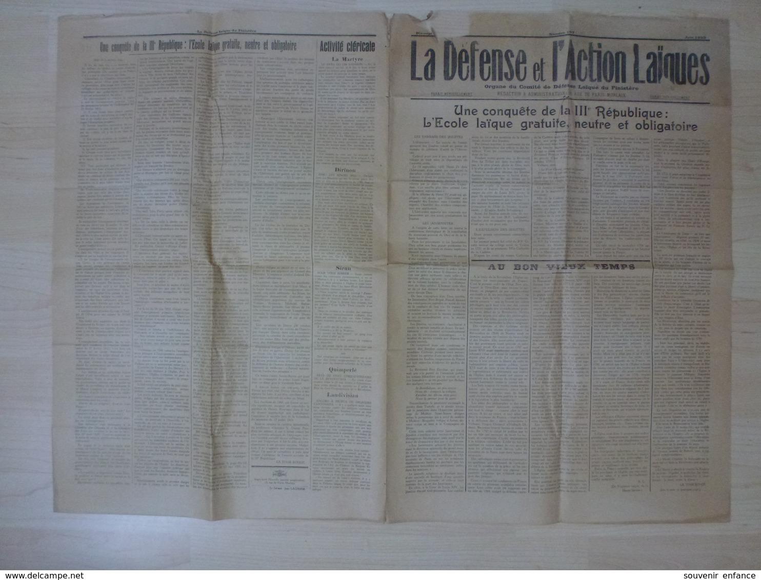 La Défense Et L'Action Laïques Finistère 29 1939 Lechiagat Huelgoat Cléricaux St Herbot Landivisiau Sizun - Autres