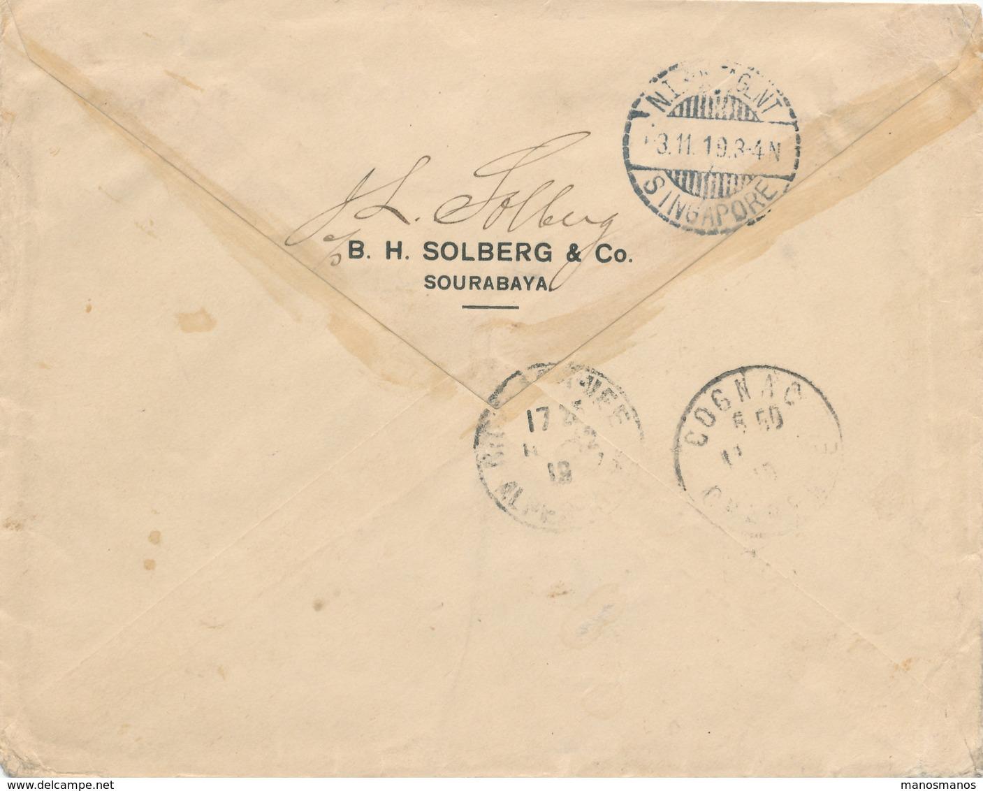 269/27 - SINGAPORE / NL INDIES - Lettre TP NL Indies GAROET 1919 Vers NICE Via N.I. Postagent SINGAPORE - Indes Néerlandaises