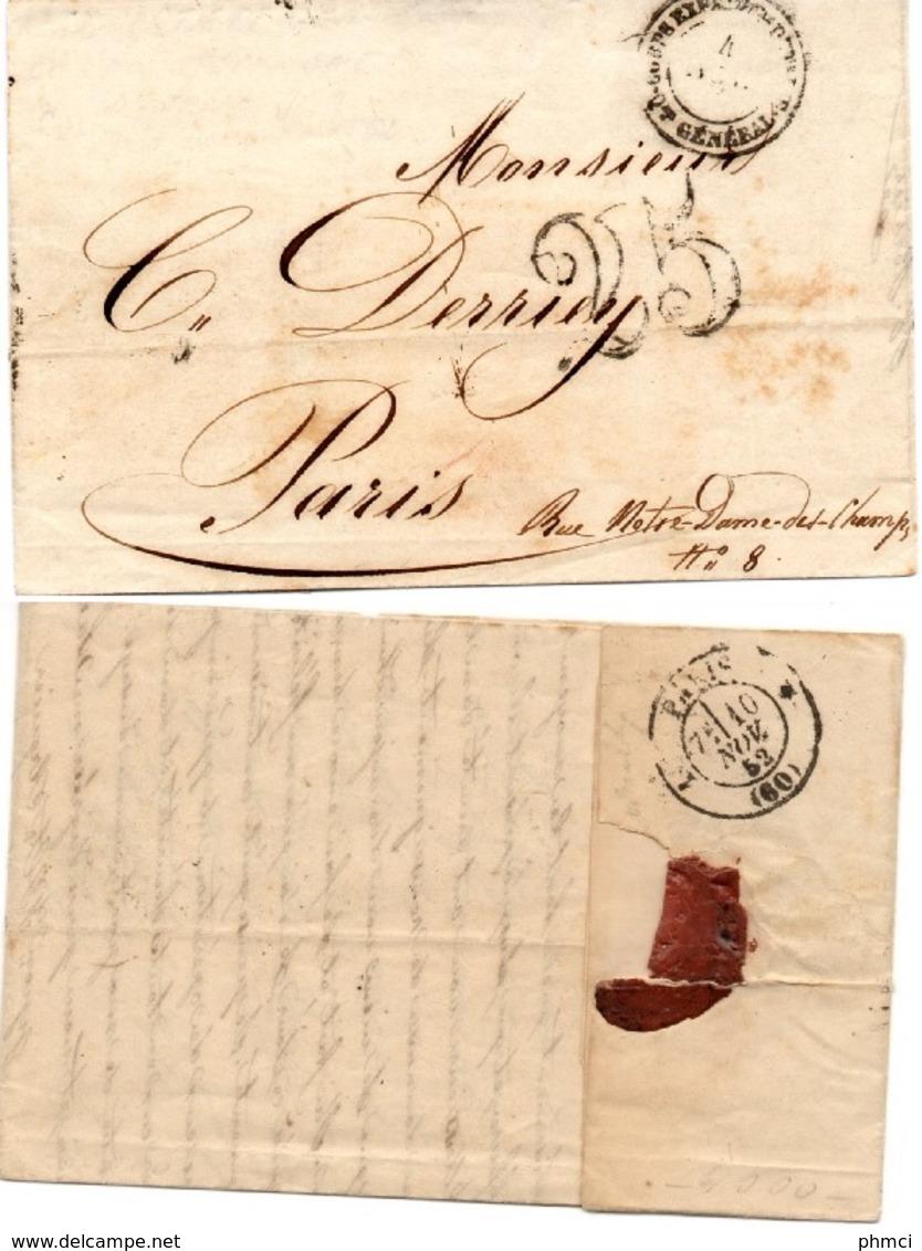 LAC Du Corps Expéditionnaire D'Italie - Quartier Général Datée De Novembre 1852 + Taxe 25 Pour Paris - Marques D'armée (avant 1900)