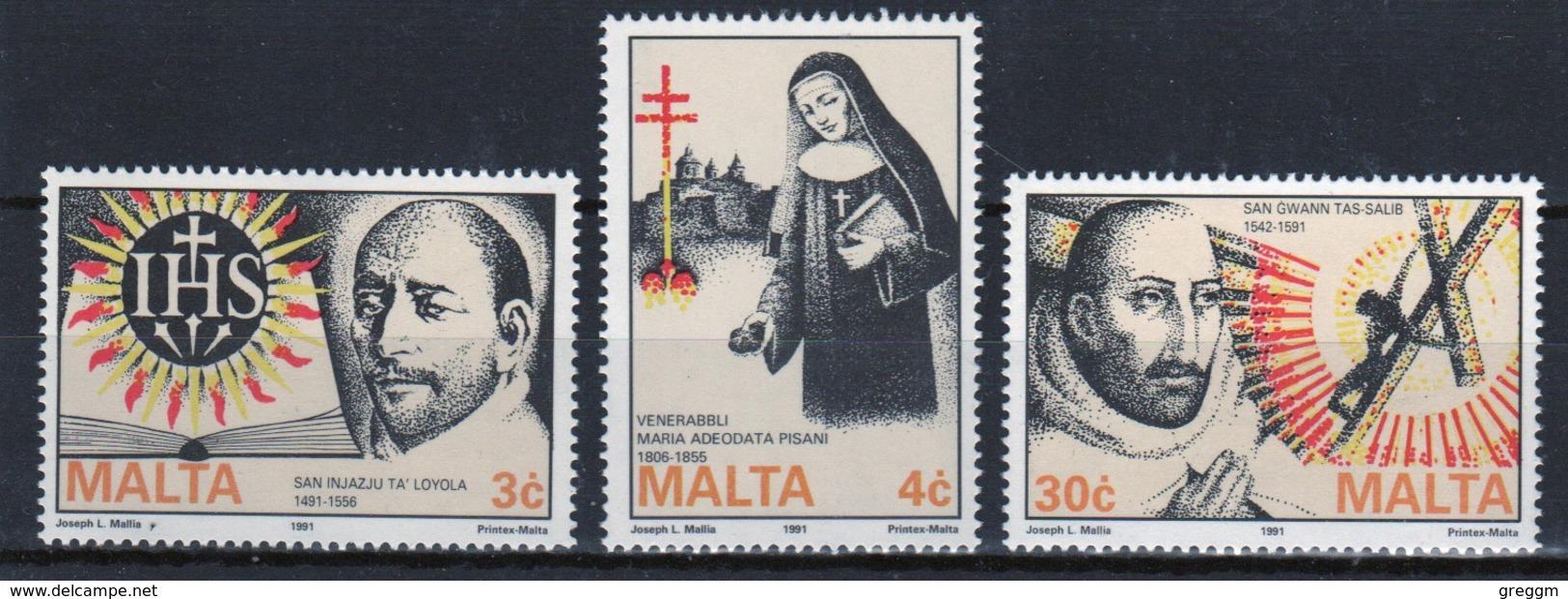 Malta 1991 Set Of Stamps To Celebrate Religious Events. - Malta