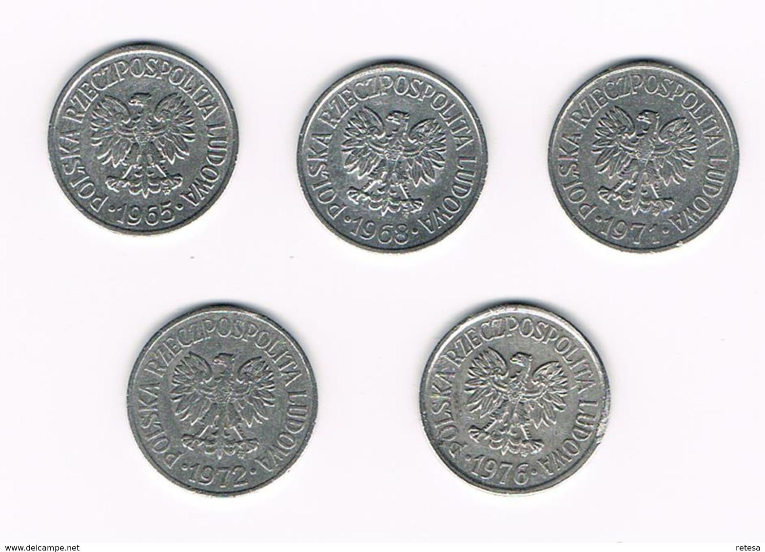 =&  POLEN  5 X 20  GROSZY  1965/68/71/72/76 - Pologne