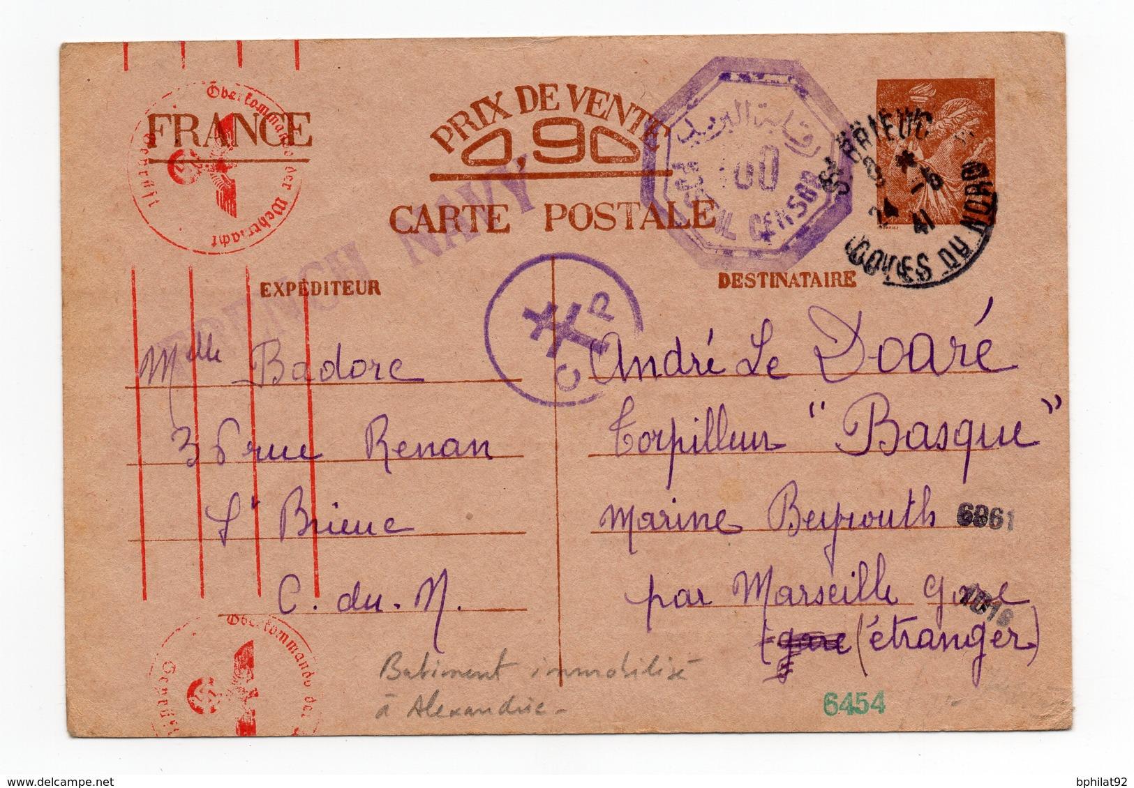 !!! ENTIER POSTAL IRIS DE 1941 POUR LE TORPILLEUR BASQUE, BATIMENT IMMOBILISE A ALEXANDRIE - Guerre De 1939-45