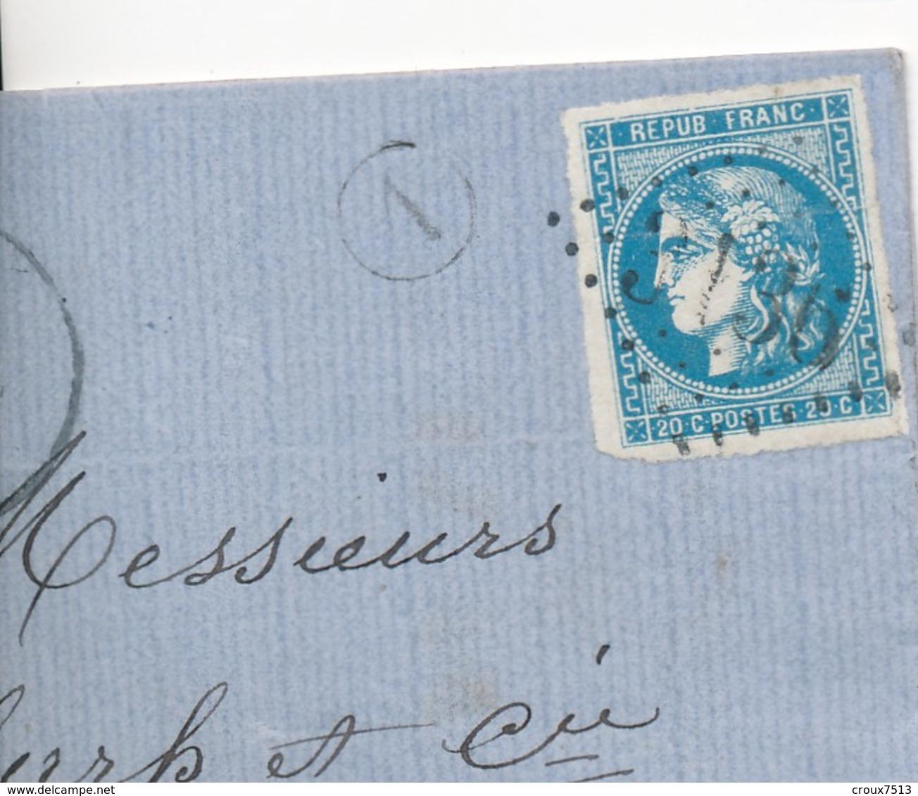 LAC 1871 De Riez Avec 20 C Bleu N° 46 B Cachet A De Facteur SUP D'aspect. - 1870 Emission De Bordeaux