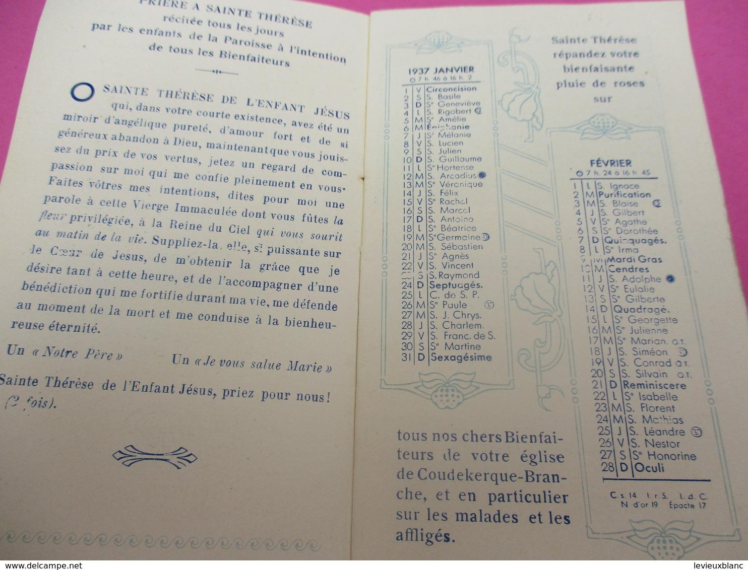 Religion/ Petit Calendrier De Poche/Sainte Thérése De L'Enfant Jésus/Coudekerque Branche/Nord/Vantorre/1937      CAL404 - Kalenders