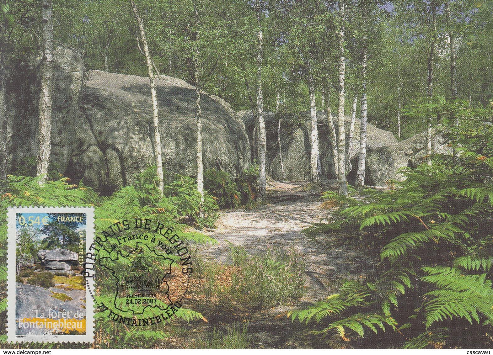 Carte  Maximum  1er  Jour   FRANCE   La  Forêt   De  FONTAINEBLEAU    2007 - Maximumkarten