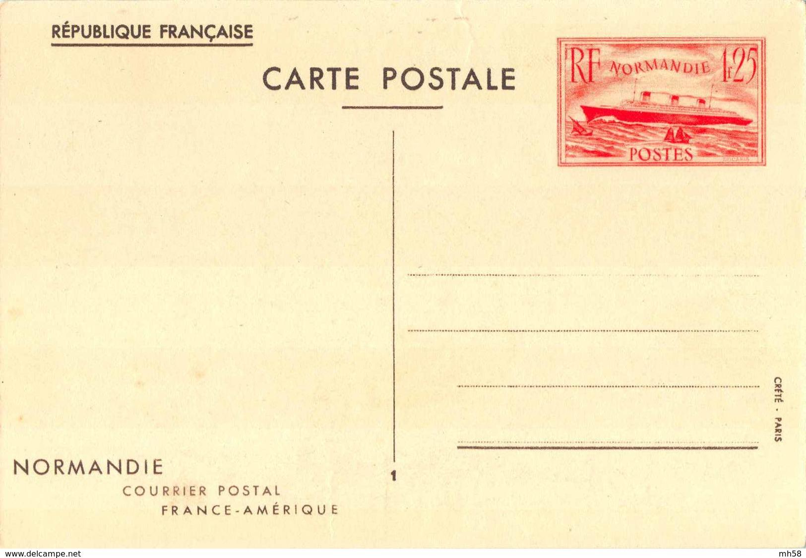 Entier FRANCE - Carte Commémo Neuf - 1f25 Paquebot Normandie Vermillon - Entiers Postaux