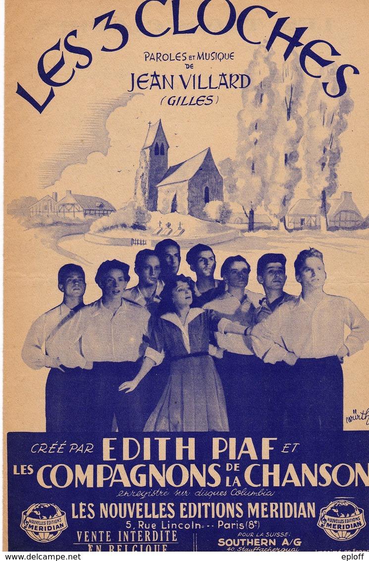 """Les 3 Cloches  Paroles Musique J. Villard 1945 Nlles Editions Meridian RARE Bas De Page """"Vente Interdite En Belgique"""". - Music & Instruments"""