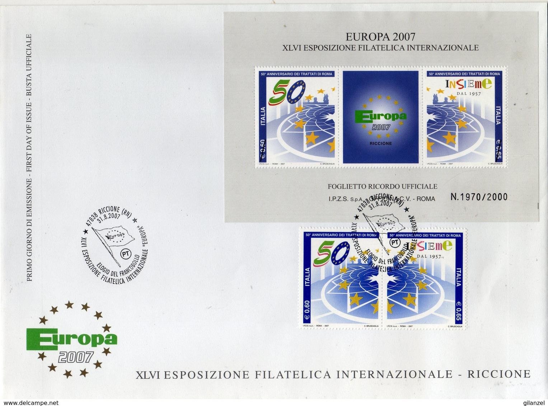 Italia 2007 EUROPA 56° Esposizione Filatelica Internazionale Annullo Serie + Erinnofilo Ricordo Su Bustone Dedicato - Esposizioni Filateliche
