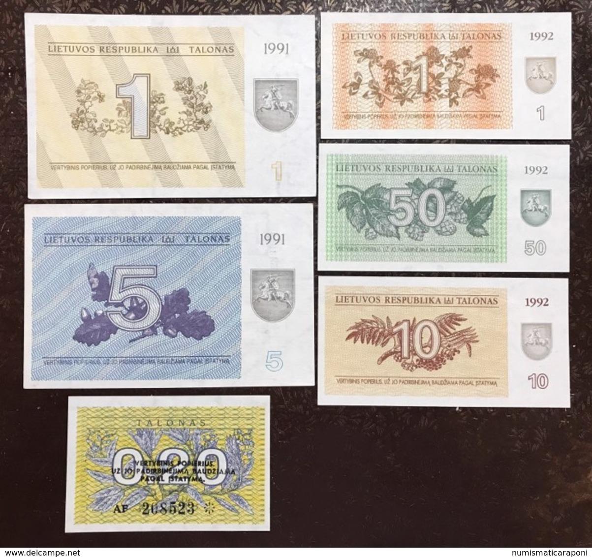 Lituania Lietuva 1991 1 + 5 + 1992 0,20 + 1 + 2 + 10 + 50 Talonas  Lotto 2302 - Latvia