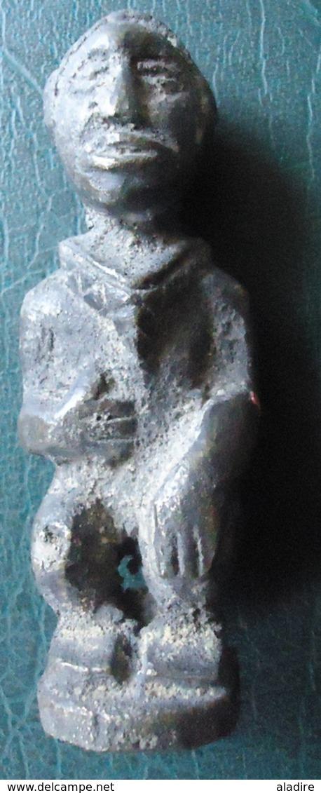 HOMME AU COLLIER DEBOUT - KONGO - Bronze Massif (cire Perdue) - Art Africain
