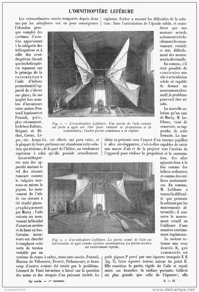 L'ORNITHOPTERE LEFEBURE   1911 - Transportation