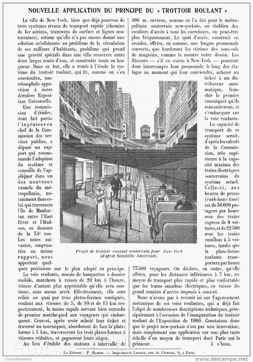"""NOUVELLE APPLICATIONS DU PRINCIPE DU  """" TROTTOIR ROULANT  """"    1911 - Sciences & Technique"""