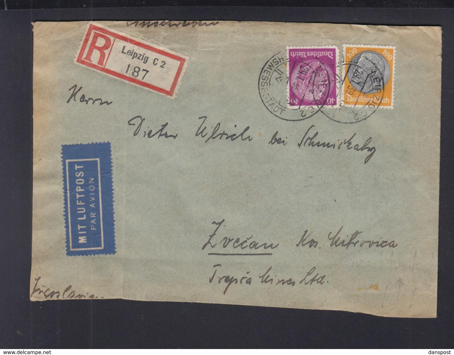 Dt. R-Brief 1939 Nach Jugoslawien Zollamt Geöffnet - Germania