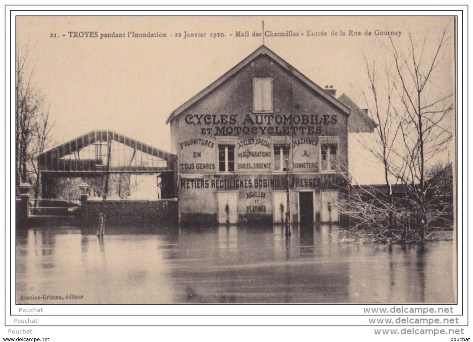 10) TROYES Pendant L'inondation - 22 Janvier 1910 - Mail Des Charmilles - Entrée De La Rue De Gournay - Commerce Cycles - Troyes