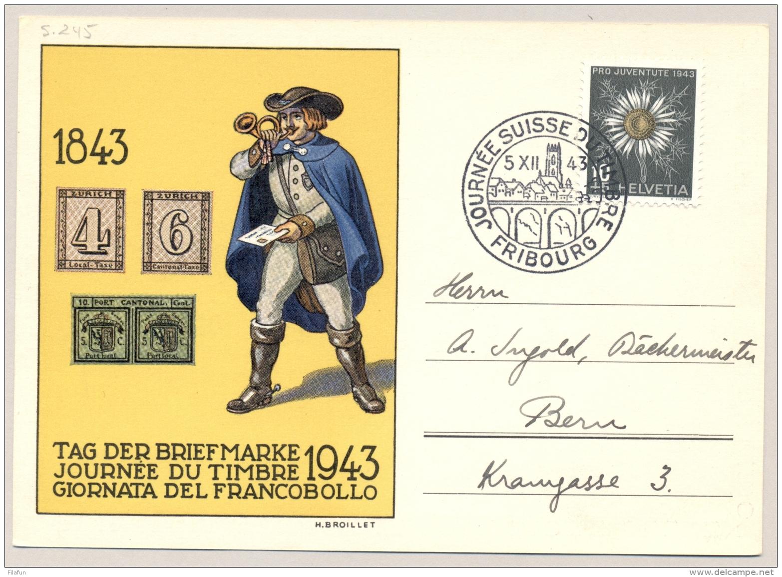Schweiz - 1943 - 10c Pro Juventute - Tag Der Briefmarke - From Fribourg To Bern - Schweiz
