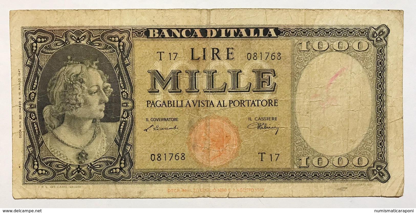 1000 LIRE ITALIA 20 03 1947 TESTINA Pressata MB  RARA LOTTO 2315 - [ 2] 1946-… : République