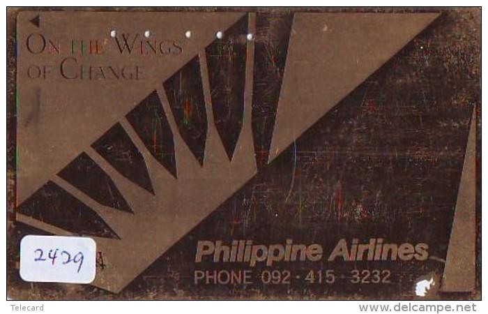 Télécarte  Doree JAPON * PHILIPPINE AIRLINES  (2429)  AVIATION * AIRLINE Phonecard JAPAN  AIRPLANE * FLUGZEUG - Avions