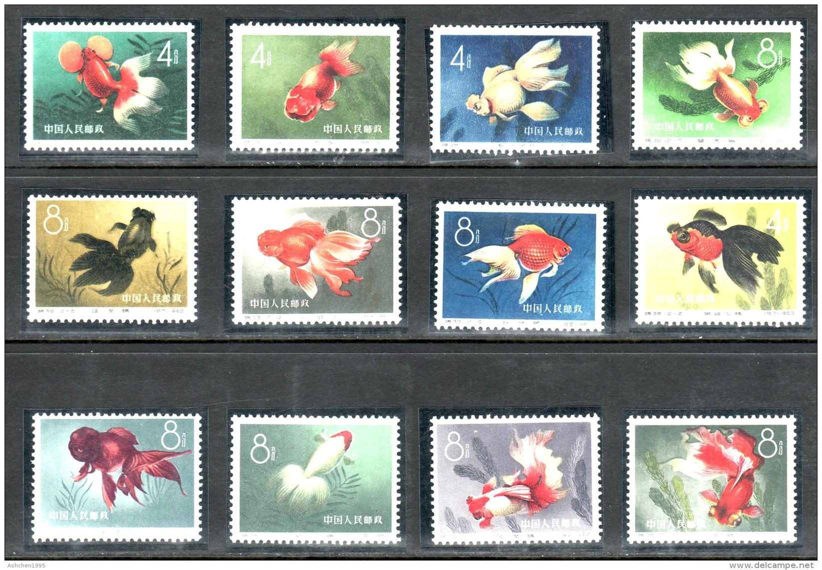 China Chine Cina 1960,  FISH, FULL SET, Mi 534-545, PERFECT CONDITION - OG MNH ** - Nuovi