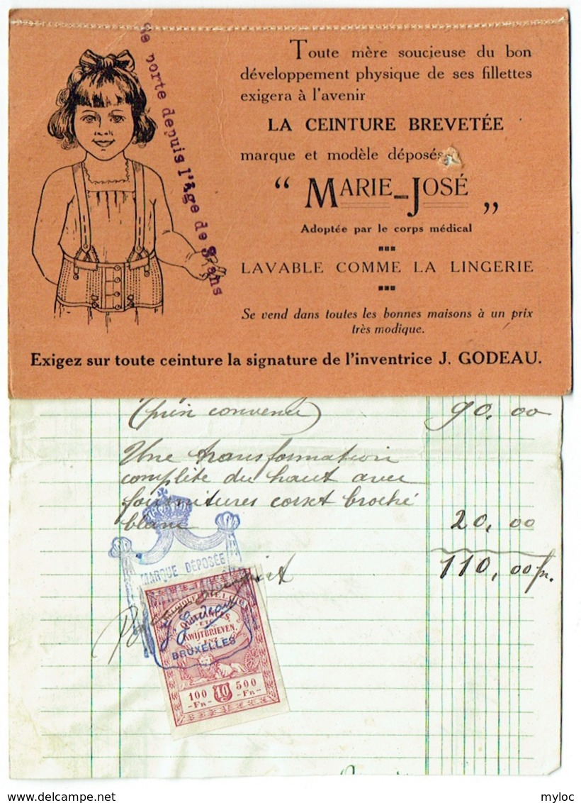 Carte Publicté + Facture Avec Timbre. Corseterie Marie-Josée, Schaerbeek, Avenue Louis Bertrand. 1922. - Bélgica