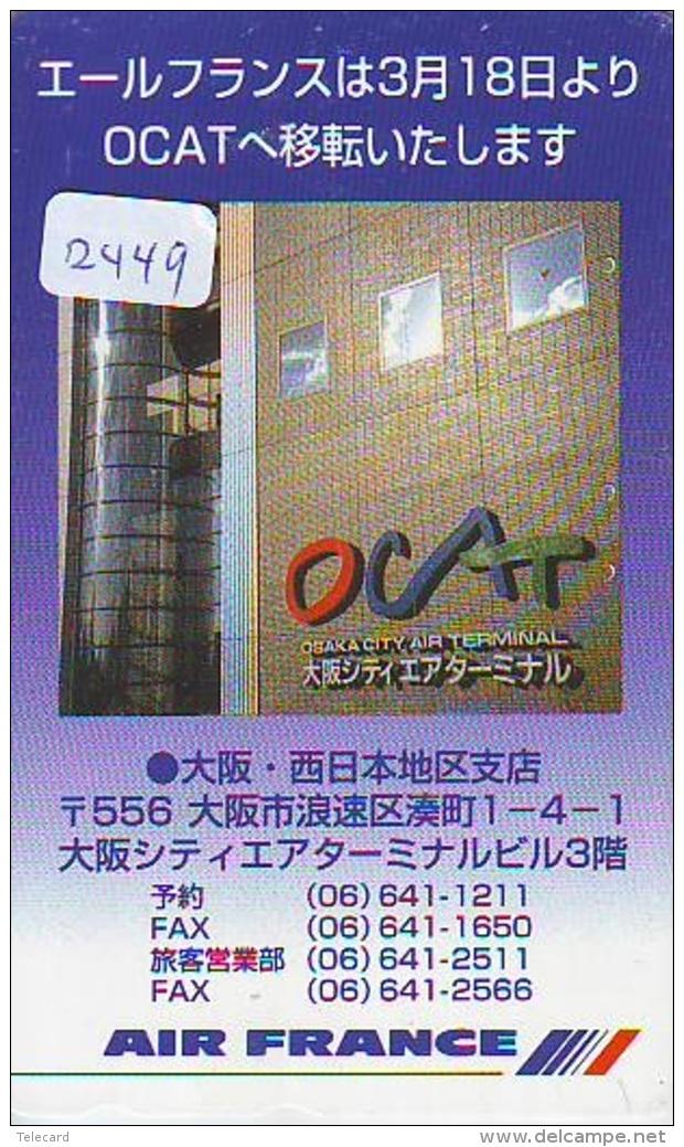 Télécarte  JAPON * AIR FRANCE (2449) OSAKA TERMINAL * AVIATION * AIRLINE Phonecard  JAPAN AIRPLANE * FLUGZEUG - Avions