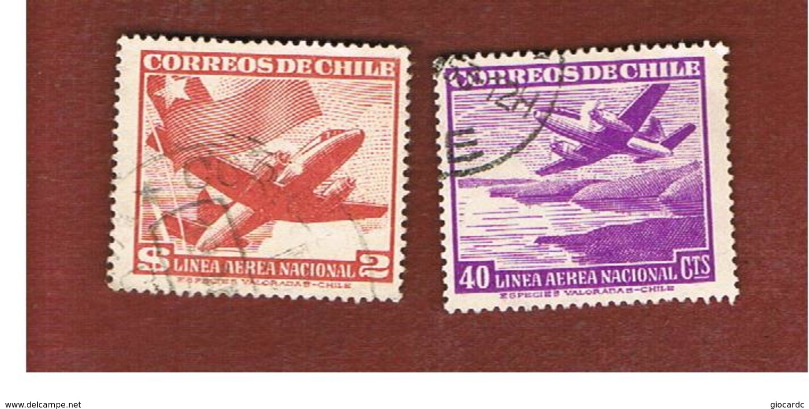 CILE (CHILE)  - SG 396.399 -  1950   AIRPLANES: 2 STAMPS OF THE CURRENT SERIE  -  USED ° - Chile