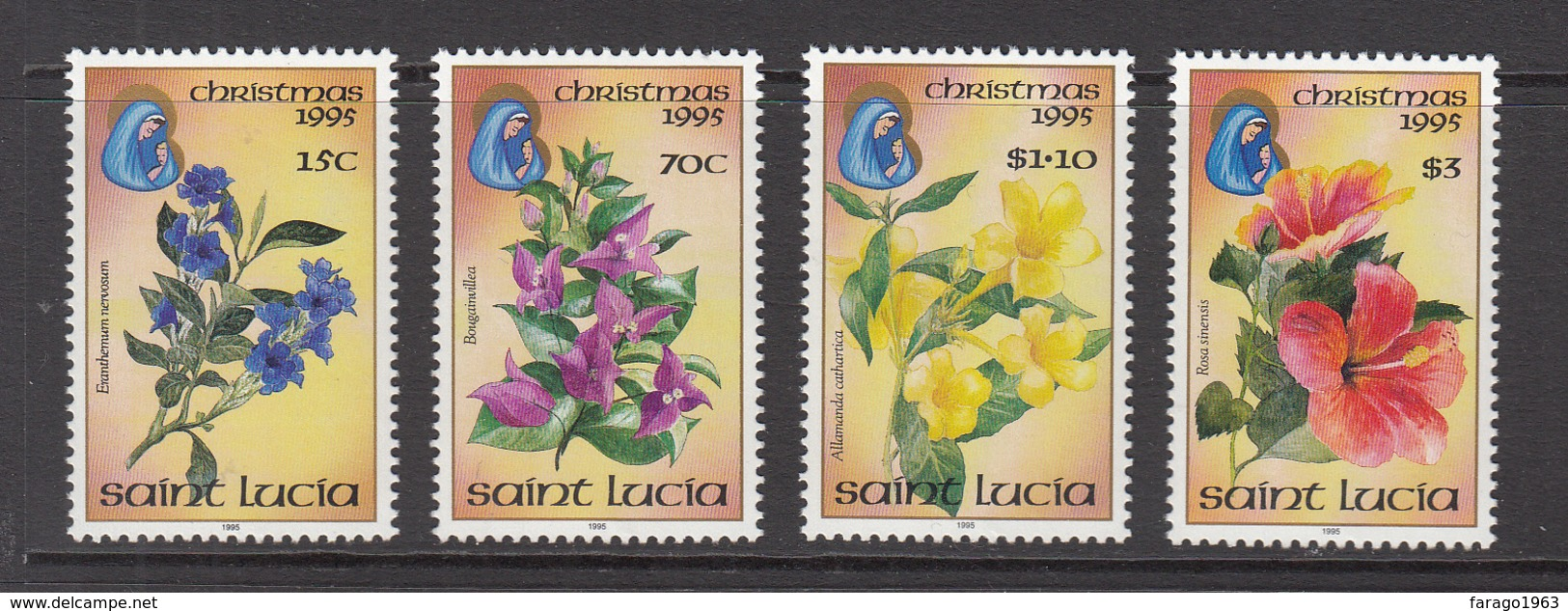 1995 St. Lucia Christmas Noel Flowers   Complete Set Of 4 MNH - St.Lucia (1979-...)