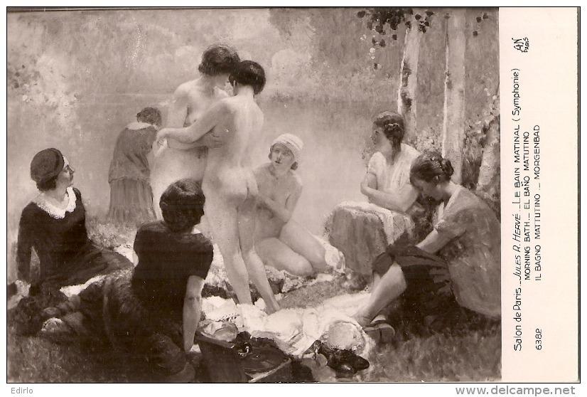***  PEINTURE ***  SALON DE PARIS   Jules  R Hervé Le Bain Matinal - Neuve Excellent état - Paintings