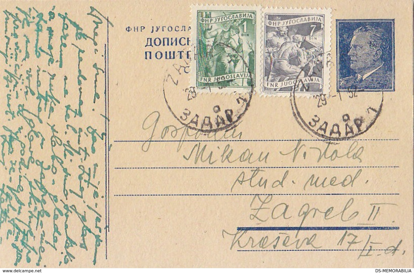 Yugoslavia - Uprated Stationery Zadar 1952 - Ganzsachen