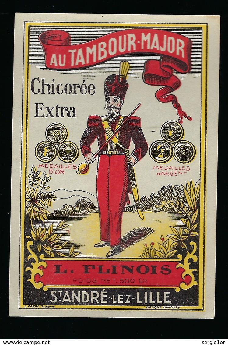 """Ancienne Etiquette Chicorée  Extra  """" Au Tambour Major """" L Flinois St André Lez Lille  Nord 59 - Frutta E Verdura"""