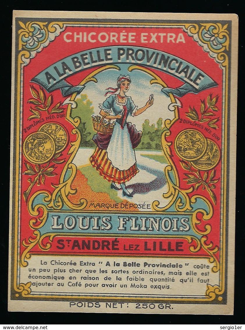 """Ancienne Etiquette Chicorée  Extra  """" A La Belle Provinciale """" L Flinois St André Lez Lille  Nord 59 - Fruits & Vegetables"""