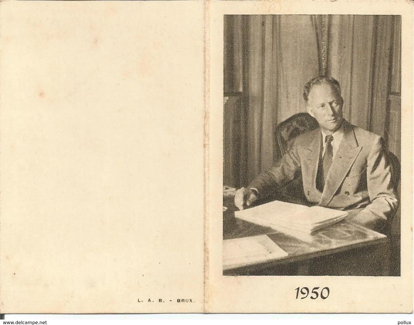 Belgique Calendrier Petit Format 1950 Roi Léopold III (2 Scans) - Calendriers
