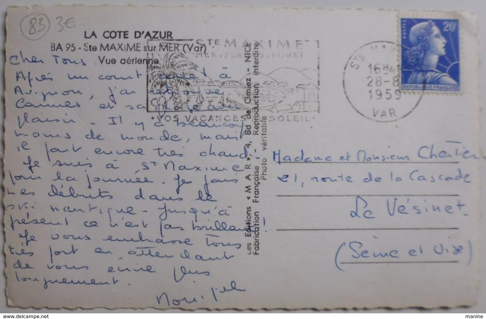 Ste MAXIME Sur MER - Vue Aérienne - CPSM 1959 - Sainte-Maxime