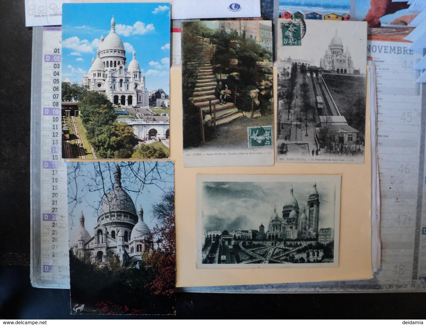 LOT DE 5 CPA  / CPSM SACRE COEUR. PARIS. 1909 / ANNEES 60 SQUARE SAINT PIERRE / LE FUNICULAIRE / LA BASILIQUE / ESCALIE - France