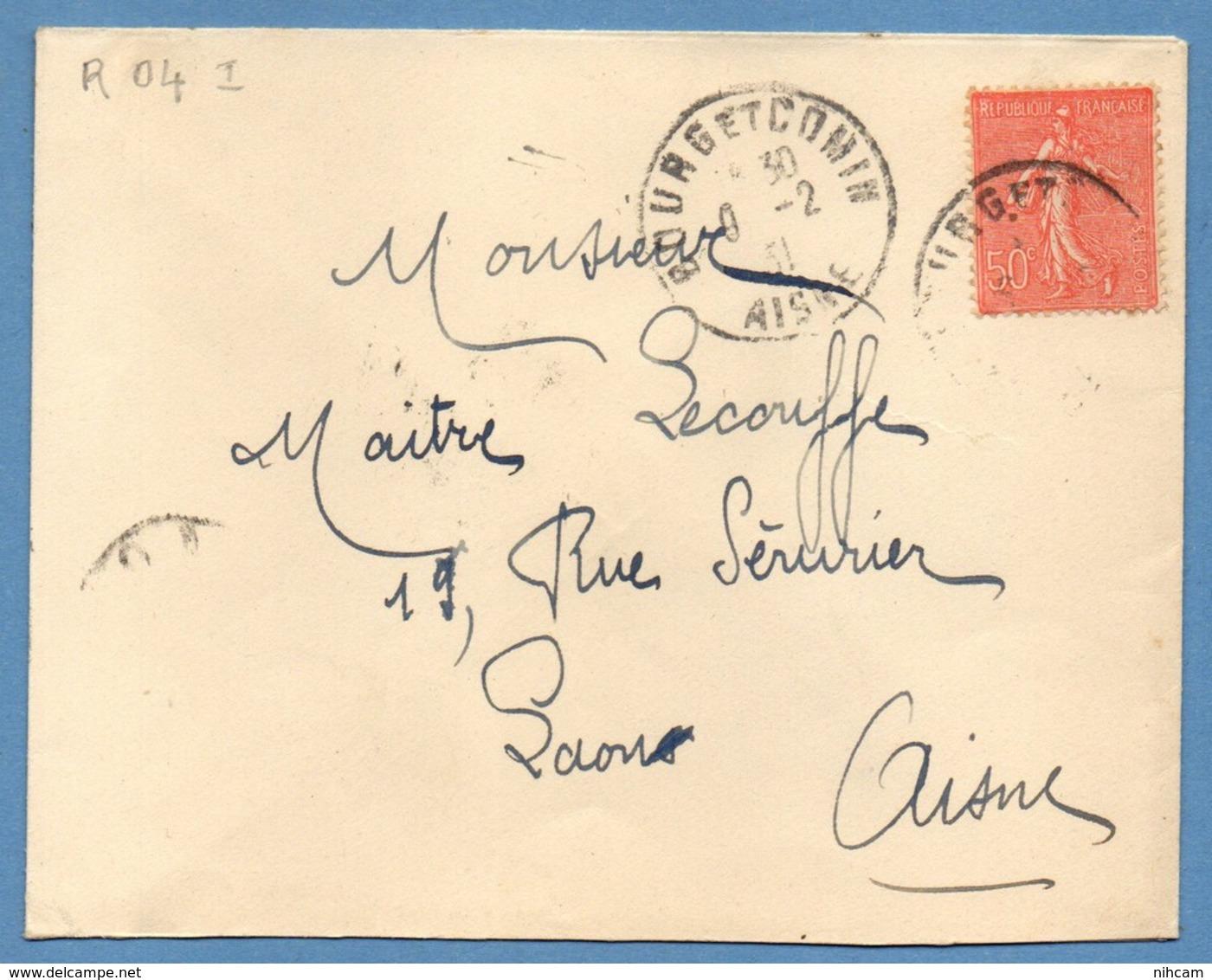 Lettre Bourg Et Comin ( Aisne 02 ) Type A4 1931 / SEM L > Laon 04 - Marcophilie (Lettres)