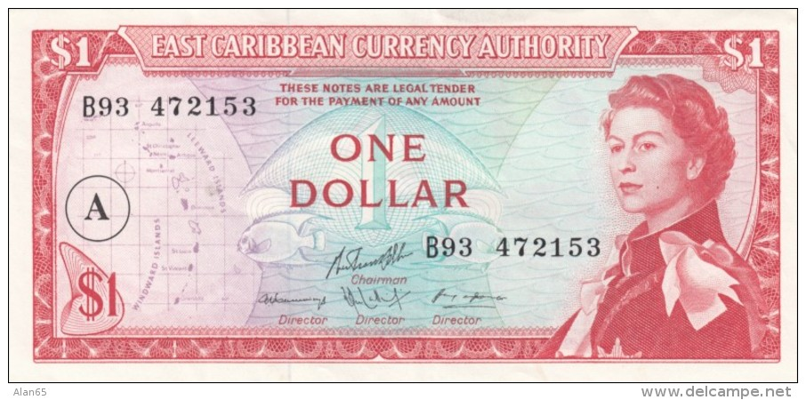 East Caribbean Currency Authority  #13h 1 Dollar, 'A' In Circle Over-print, 1965 Issue Banknote - Caraïbes Orientales