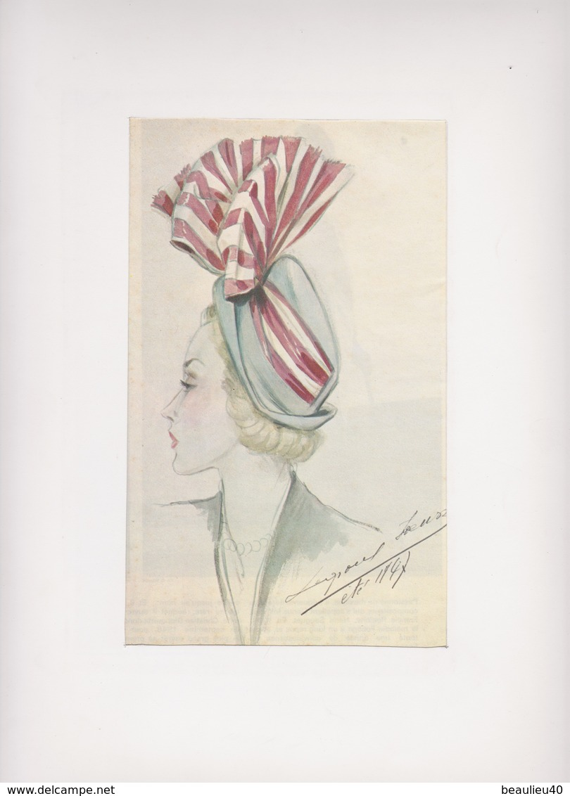 Dessin D'un Chapeau été 1947  Signé Legrand Louise - Vintage Clothes & Linen