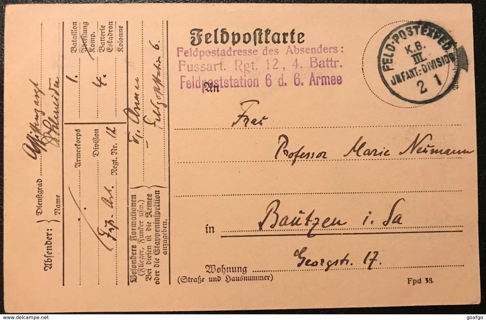 Alte Feldpostkarte Aus Dem Jahr 1915 Regiment 12 , 4. Battr. Station 6. Armee - Documents Historiques