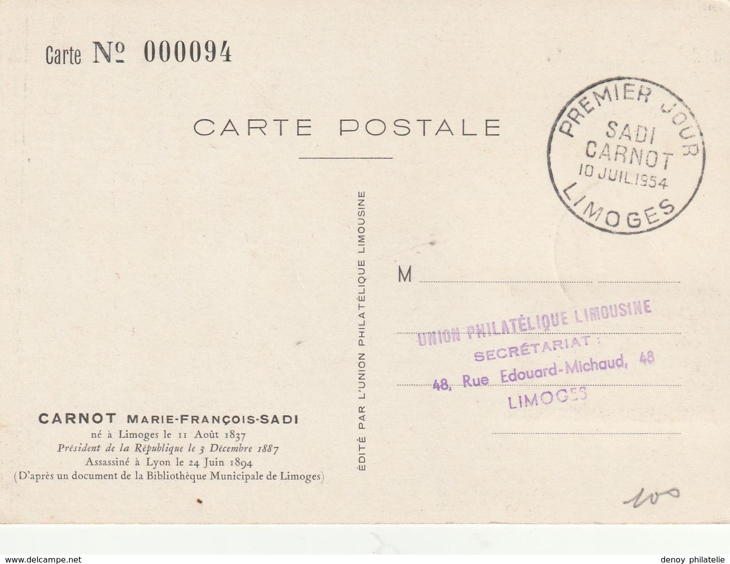 France Carte Maximun Sadi Carnot 10 Juilet 1954 N°991 - Cartoline Maximum