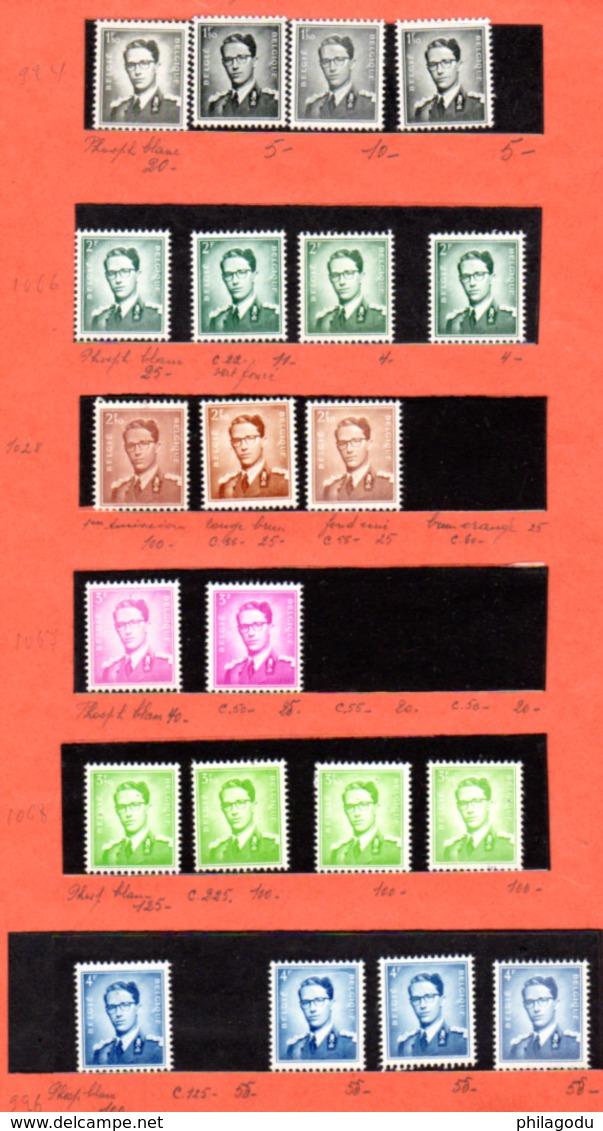 1953-58, Belgique,étude Baudouin, Cote 13,40 €   Type Marchand, Nuances, Papiers, Entre 924 ** Et 1068** - Belgique