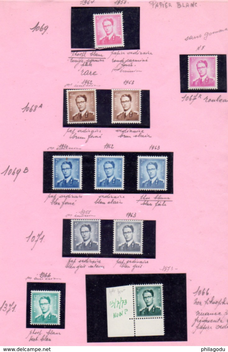 1958-66, Belgique,étude Baudoin, Cote 10€ ++ Type Marchand, Nuances, Papiers, 1068A** Et 1371 ** - Belgique