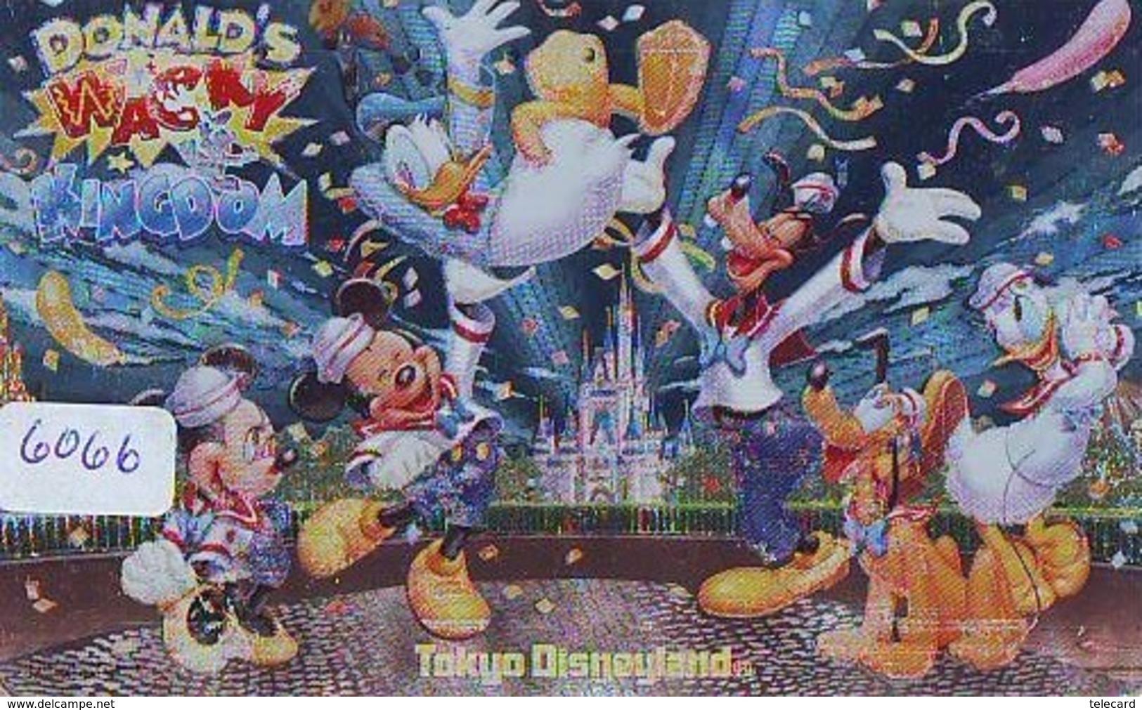 Japon Métal Argent Japon DISNEY * 110-206351 * Canard Donald Mickey (6066) Disneyland Château * Japan Silver Phonecard - Disney